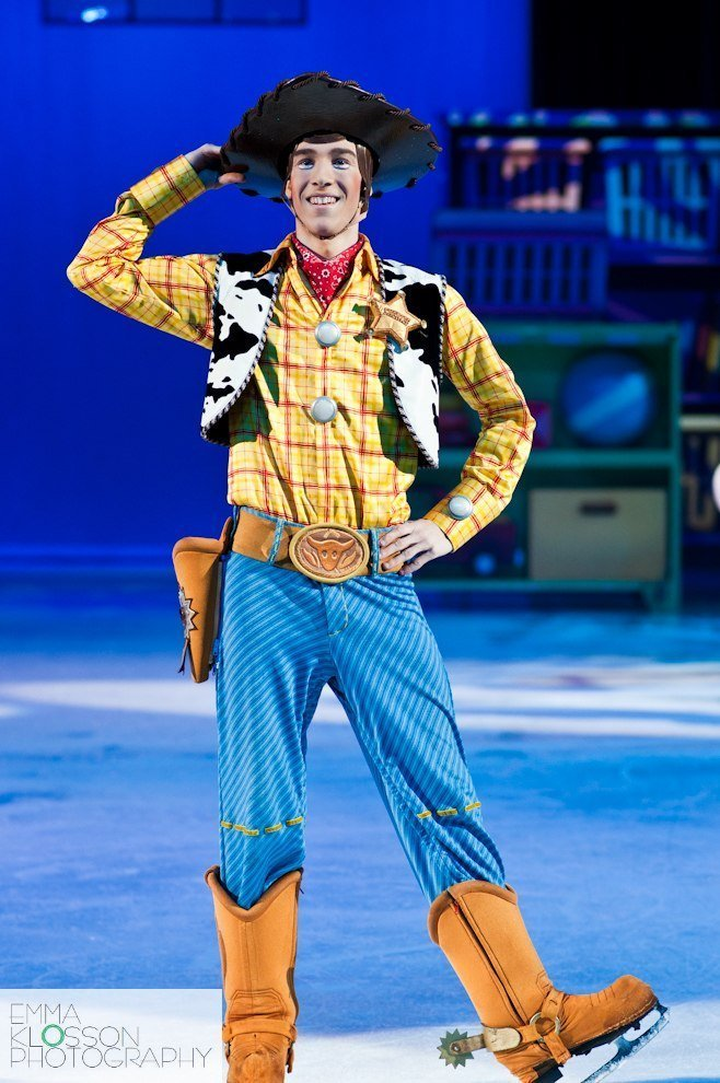 Daniil Timin portraying the role of Woody on Disney on Ice World of Enchantment